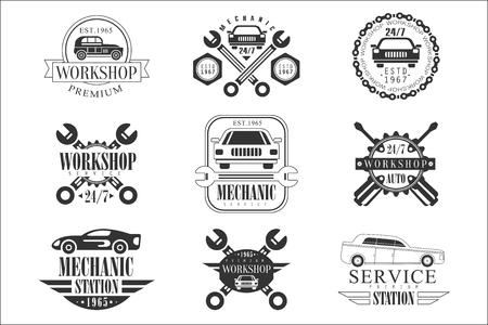 Emblèmes de mécanicien automobile en noir et blanc