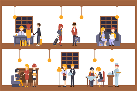 Two Illustrations, Scenes In The Hotel At Reception And Restaurant. Employees And Guests Of The Hotel Minimalistic Colorful Flat Vector Illustrations.  イラスト・ベクター素材