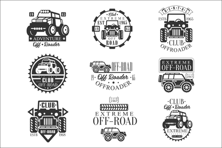 Quad Bike Rental Club Set Of Emblems With Black And White Quadricycle Atv Off-Road Transportation Silhouettes Ilustrace