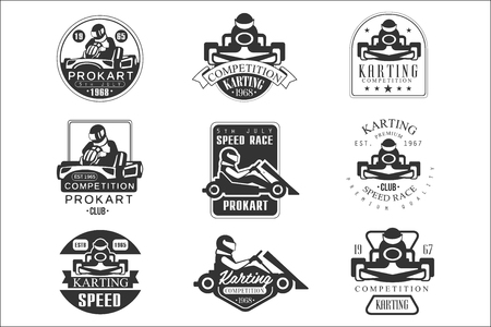 Premium Quality Procart Competition Club Set Of Black And White Emblems With Racing Karting Car Racer Silhouettes Illustration