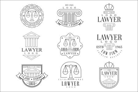 Law Firm And Lawyer Office Templates With Classic Ionic Pillars, Pediments Balance Silhouettes Illustration