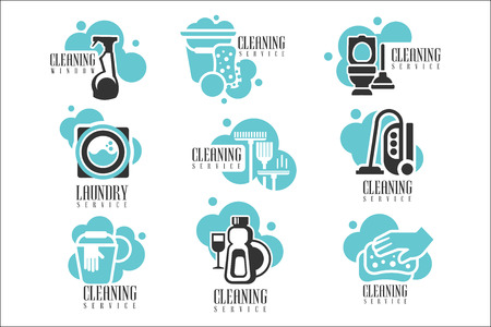 House And Office Cleaning Service Hire Labels Set, Templates For Professional Cleaners Help The Housekeeping