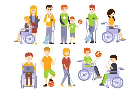 Physically Handicapped People Living Full Happy Life With Disability Set Of Illustrations With Smiling Disabled Men And Women. Colorful Flat Vector Cartoon Characters With Physical Impairments And In