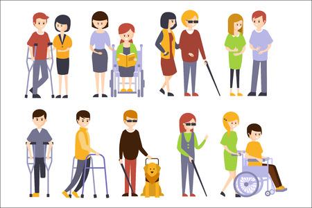 Persone fisicamente disabili che ricevono aiuto e supporto dai loro amici e familiari, godendosi la vita piena con disabilità insieme di illustrazioni con sorridenti uomini e donne disabili. Personaggi dei cartoni animati vettoriali piatto colorato con menomazioni fisiche e in sedia a rotelle.