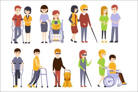 Physically Handicapped People Receiving Help And Support From Their Friends And Family, Enjoying Full Life With Disability Set Of Illustrations With Smiling Disabled Men And Women. Colorful Flat Vector Cartoon Characters With Physical Impairments And In Wheelchairs.