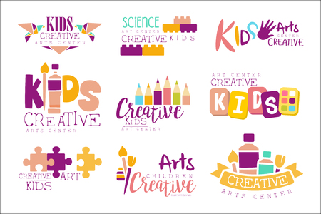 Kids Creative And Science Class Template Promotional Set With Symbols Of Art Creativity, Painting Origami