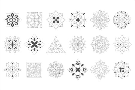 Regular Shape Doodle Ornamental Figures In Black In White Color For The Zen Adult Coloring Book Set Of Illustrations
