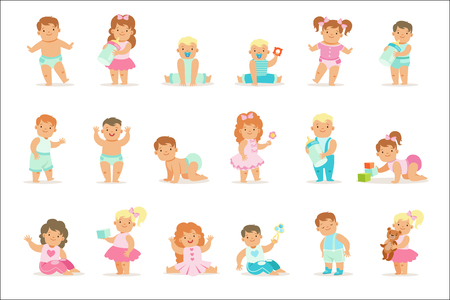 Adorable Smiling Babies And Toddlers In Blue And Pink Outfits Doing First Steps, Crawling And Playing Set Of Illustrations. Small Infant Boys And Girls Set OF Cute Flat Cartoon Vector Drawings.