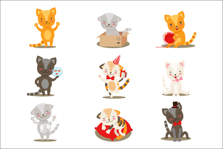 Little Girly Cute Kittens Cartoon Characters Different Activities And Situations Set Of Vector Illustrations. Baby Pet Animals With Objects Emoji Flat Drawing Collection.