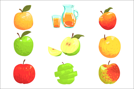 Apples And Apple Juice Cool Style Bright Illustrations. Cartoon Detailed Colorful Icons Isolated On White Background.