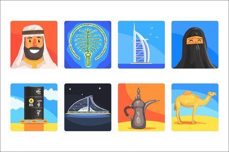 Famous Touristic Attractions To See In United Arab Emirates. Traditional Tourism Symbols Of Arabic Country Including Food, Architecture And Religious Habits. Set Of Colorful Vector Illustrations With