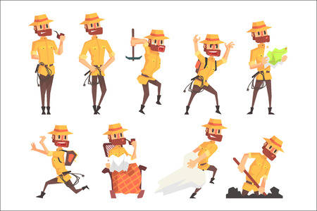 Adventurer Archeologist In Safari Suit With A Whip Set Of Activity Illustrations. Geometric Style Vector Cartoon Man Explorer Character And His Adventures. Vettoriali