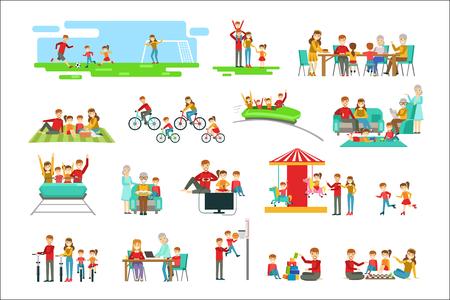 Glückliche Familie, die gute Zeit zusammen hat Satz Illustrationen. Helle Farbe vereinfachte Cartoon-Stil niedliche Familienszenen auf weißem Hintergrund. Vektorgrafik