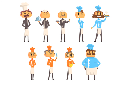v Restaurant Chef Cooks Set Of Man Cartoon Characters In Classic Double Breasted Jacket And Hat. Cooking Professionals In Cafe Kitchen Cooking Food And Serving Finished Dishes Set OF Illustrations.