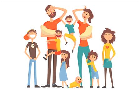 Feliz familia caucásica con muchos niños retrato con todos los niños y bebés y padres cansados colorida ilustración. Familia amorosa de dibujos animados dibujando con niños de diferentes edades, hombre y mujer.