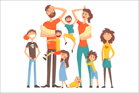 Happy Caucasian Family With Many Children Portrait With All The Kids And Babies And Tired Parents Colorful Illustration. Cartoon Loving Family Members Drawing With Children Of Different Ages, Man And Woman. Stock Illustratie