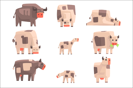 Toy Simple Geometric Farm Cows Standing And Laying While Browsing Set Of Funny Animals Vector Illustrations. Collection Of Stylized Animals For Video Game Platformer. Illustration