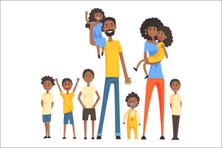 Gelukkige zwarte familie met veel kinderen portret met alle kinderen en baby's en lachende ouders kleurrijke afbeelding. Cartoon liefdevolle familieleden tekenen met kinderen van verschillende leeftijden, man en vrouw.