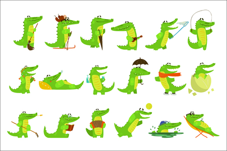Humanized Crocodile Character Every Day Activities Set Of Illustrations. Flat Bright Color Isolated Funny Alligators In Different Situations On White Background, Çizim