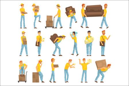 Entrega y mudanza de empleados de la empresa que transportan objetos pesados, entregan envíos y ayudan con el reasentamiento Conjunto de ilustraciones. Trabajador manual cargando y trayendo elementos coloridos personajes de dibujos animados en uniforme.