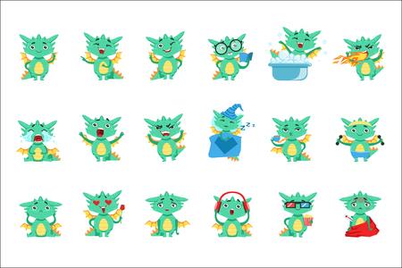 Ensemble Emoji Mignon Petit Dragon. Autocollants détaillés mignons avec un animal fantastique enfantin dans des situations amusantes. Vecteurs