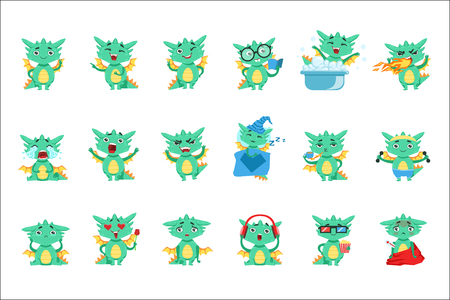 Little Dragon Cute Emoji Set. Cute Detailed Stickers With Childish Fantastic Animal In Funny Situations.
