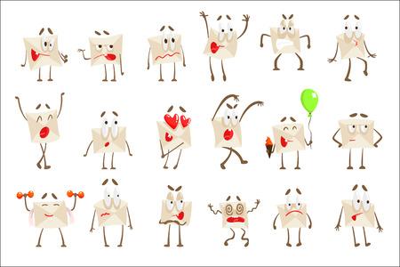 Papier à lettres envelopper le jeu d'illustrations Emoji de personnage de dessin animé. Dessins vectoriels avec couverture de courrier humanisée avec différentes expressions faciales et émotions.