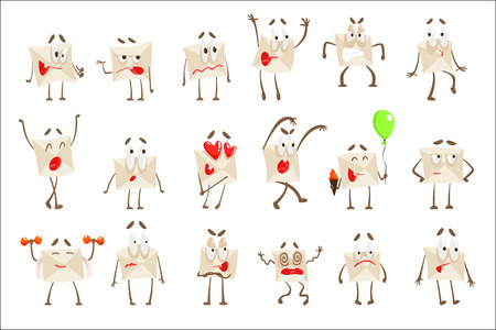 Letter Paper Envelop Cartoon Character Emoji Illustrations Set. Vector Drawings With Humanized Mail Cover With Different Facial Expressions And Emotions. Illustration
