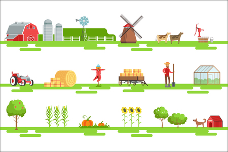Farm Related Elements In Geometric Style Set Of Illustrations. Primitive Colorful Flat Vector Drawings On White Background With Symbols Associated With Farm.