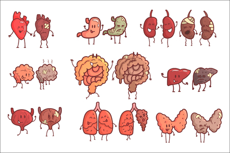 Human Internal Organs Healthy Vs Unhealthy Set Of Medical Anatomic Funny Outlined Comic Character Pairs Of Organism Parts In Comparison Happy Against Sick And Damaged. Vector Illustrations Set With Humanized Intestines, Brain, Liver , Kidneys And Other Anatomic Elements.