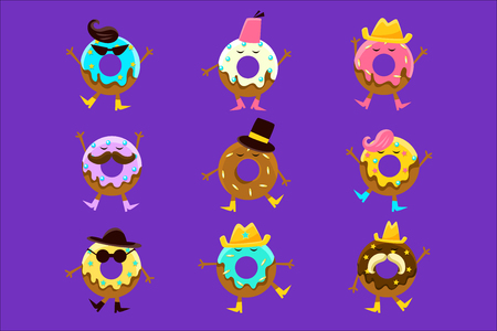 Humanized Doughnut Cartoon Characters With Arms And Legs With Different Facial Features Set. Sweet Pastry Donut Male And Female Characters With Colorful Glazing And Fashion Accessories.
