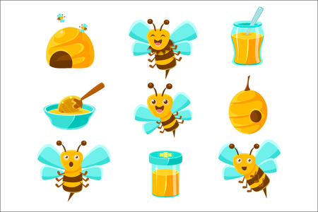 Honey Bees, Beehives And Jars With Yellow Natural Honey Set Of Colorful Cartoon Illustrations. Cute Bee Character With Emotional Face And Honey Themed Objects Collection.