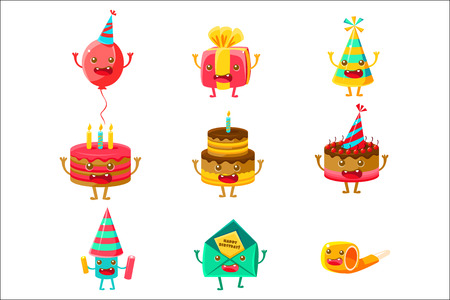 Happy Birthday And Celebration Party Symbols Cartoon Characters, Including Birthday Cake, Party Hat, Balloon, Party Horn And Fireworks. Colorful Humanized Birthday Party Associated Elements With Arms And Legs. Illustration