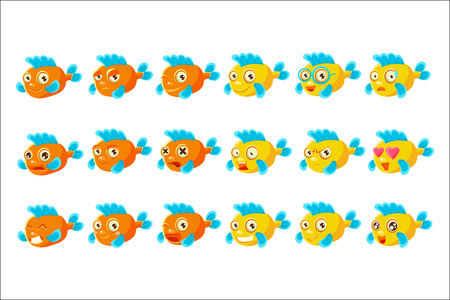 Cute Orange Aquarium Fish Cartoon Character Set Of Different Facial Expressions And Emotions. Emoji Collection With Colorful Friendly Tropical Fish Childish Animal Icons.