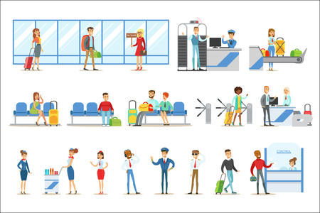 People In The Airport Interior, Passing Security Procedures, Waiting For The Flight And Arriving To Destination. Part Of Air Travel And Travelers In The Airport Set Of Cartoon Colorful Vector Illustra