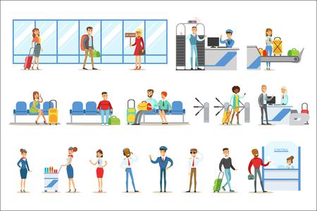 Personas en el interior del aeropuerto, pasando los procedimientos de seguridad, esperando el vuelo y llegando al destino. Parte de los viajes aéreos y los viajeros en el aeropuerto Conjunto de ilustraciones vectoriales coloridas de dibujos animados