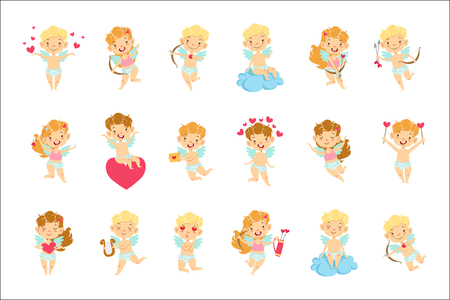 Baby Angels With Bows, Arrows And Hearts Set. Cute Cartoon Infants In Diapers With Wings And Love Symbols Illustrations On White Background.