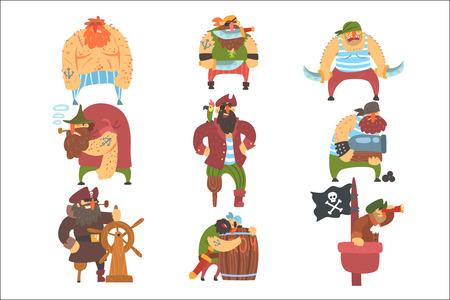 Conjunto de personajes de dibujos animados de piratas desaliñados Ilustración de vector