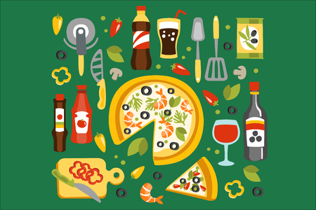 Pizza Preparation And Eating Elements, Italian Cuisine Dish With Associated Utensils, Drinks And Sauces. Separated Flat Vector Details Of Fast Food Or Cafe Traditional Meal Set Of Objects.