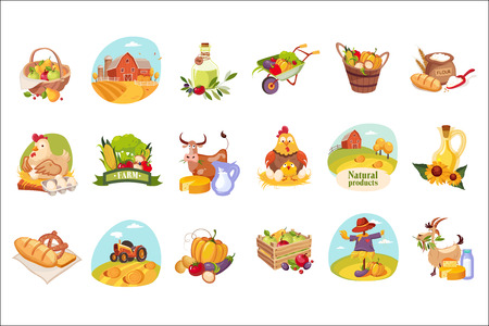 Farm Products And Animals Set Of Bright Stickers. Cute Colorful Cartoon Illustrations With Farming Symbols Isolated On White Background. Illustration
