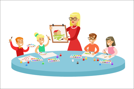 Children In Art Class Two Cartoon Illustrations With Elementary School Kids And Their Techer Crafting And Drawing In Creativity Lesson. Happy Schoolkids Painting And Making Paper Craft With Demonstration From Adult Woman.