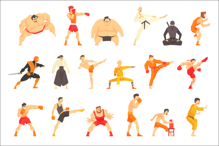 Martial Arts Fighters Demonstrating Different Technique Kicks Set Of Asian Fighting Sports Professional In Traditional Fighting Outfits Sportive Clothing. Fun Geometric Cartoon Collection Of Characters Doing Taekwondo, Karate, Sumo And Other Oriental Fighting Sorts.
