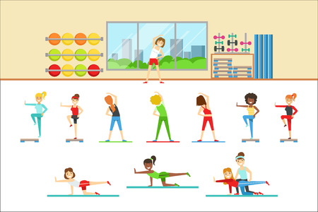 Women In Fitness Club Doing Different Workout Trainings With Instructor Illustration