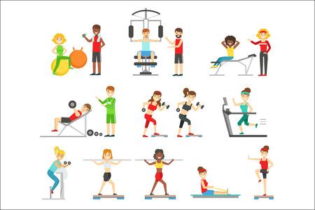 Personas en el gimnasio haciendo ejercicio bajo el control del entrenador personal. Conjunto de coloridas ilustraciones planas primitivas con gente sonriente feliz trabajando en el interior.