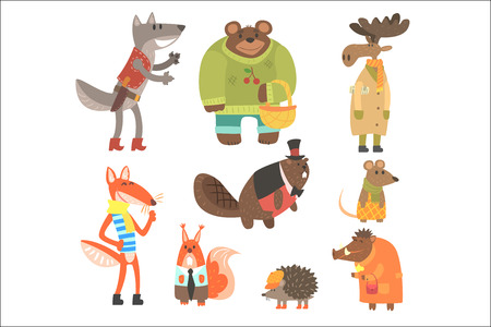 Forest Animals Dressed In Human Clothes Set Of Illustrations. Cool Cute Cartoon Animal Characters Flat Vector Drawings In Childish Creative Style. Çizim