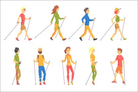 Menschen, die Nordic Walk im Freien machen, Set von Illustrationen. Finnische zu Fuß im Freien niedliche Zeichentrickfiguren zu Fuß auf weißem Hintergrund.
