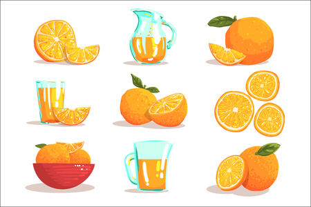 Oranges And Orange Juice Cool Style Bright Illustrations. Cartoon Detailed Colorful Icons Isolated On White Background. Banco de Imagens - 111889940