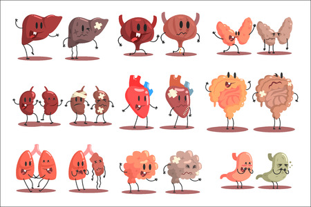 Human Internal Organs Healthy Vs Unhealthy Set Of Medical Anatomic Funny Cartoon Character Pairs Of Organism Parts In Comparison Happy Against Sick And Damaged. Vector Illustrations Set With Humanized Intestines, Brain, Liver , Kidneys And Other Anatomic Elements.