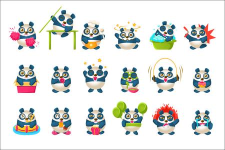 Collection mignonne d'Emoji de panda avec le caractère humanisé de panda de bande dessinée faisant différentes choses. Illustrations vectorielles isolées colorées avec des animaux dans différentes situations fantastiques définies.