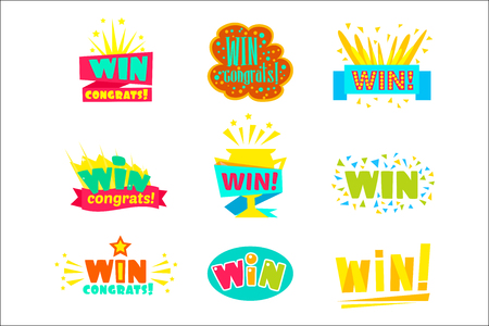 Win Congratulations Stickers Assortment Of Comic Designs For Video Game Winning Finale. Set Of Graphic Flat Vector Messages With Text Saying Win Congrats And Victory Symbols Illustration